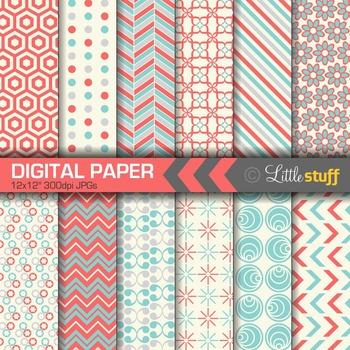 Digital Paper, Blue and Coral Digital Backgrounds, Geometr