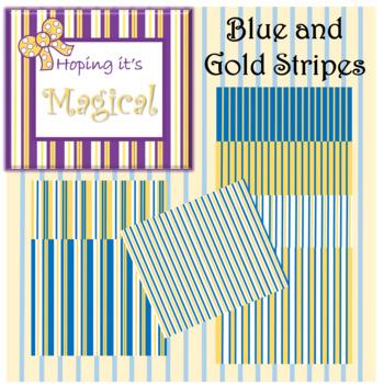 Digital Paper Blue and Gold Stripes