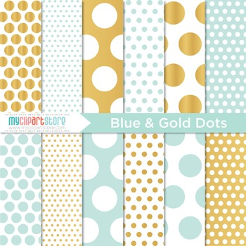 Digital Paper - Blue and Gold (foil) Polka Dots