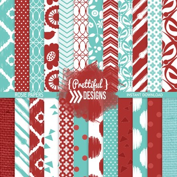Digital Paper Blue and Red Ikat Chevron Background - Rosie
