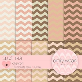 Blushing - Digital Paper - Chevron