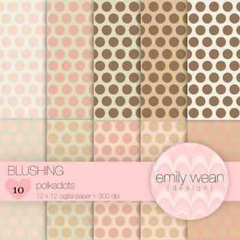 Blushing - Digital Paper - Polkadots
