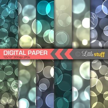 Digital Paper, Bokeh Digital Backgrounds, Blue Bokeh Effect