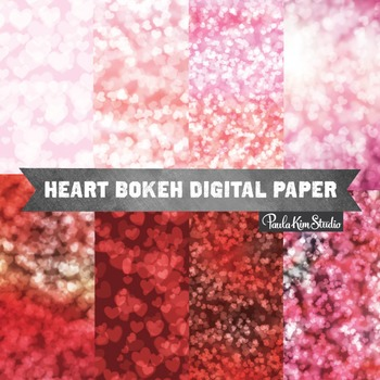 Digital Paper - Bokeh Hearts