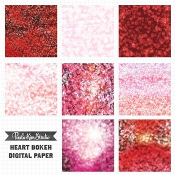 Digital Paper - Bokeh Hearts