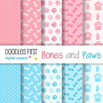Digital Paper - Bones and Paws great for Classroom art projects
