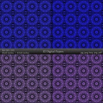 Digital Paper Book Background Kit Printable Set 12x12 + 8.5x11 Inch Card Damask