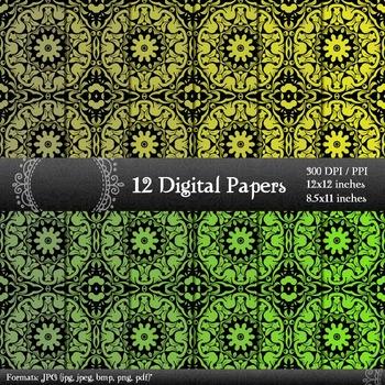 Digital Paper Book Clip Scrap Booking Printable Set 12x12 + 8.5x11 Inch Damascus