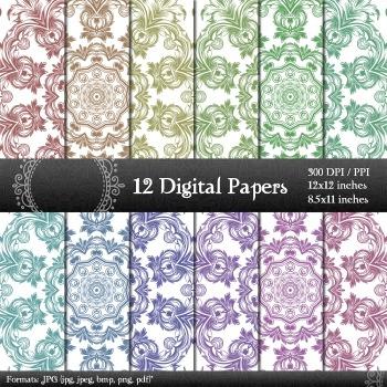 Digital Paper Book Digital Clip Set Retro Pack Vintage Cover Seamless Decorative