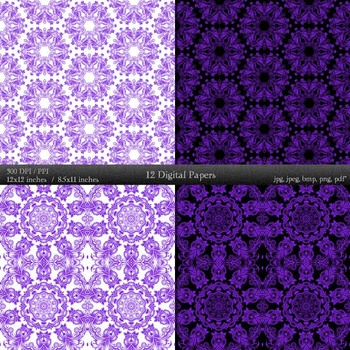 Digital Paper Book Seamless Album 12x12 + 8.5x11 Inch Graphics Corner Journal A4