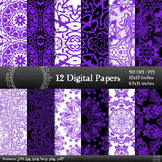 Digital Paper Book Seamless Album 12x12 + 8.5x11 Inch Grap