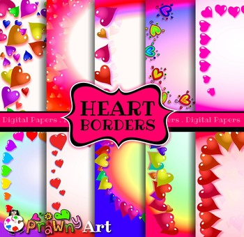 Digital Paper Borders Romantic Love Heart Designs