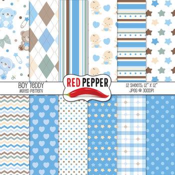 Digital Paper / Patterns - Boy Teddy