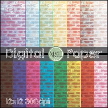 Digital Paper Brick Background Texture {Messare Clips and Design}