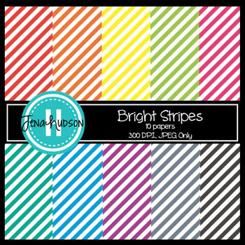 Digital Paper ~ Bright Diagonal Stripes