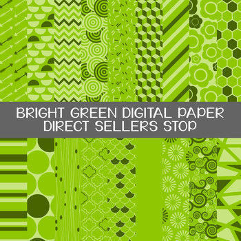 Digital Paper Bright Green Background Clip Art