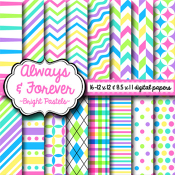 Digital Paper Bright Pastels