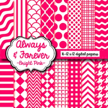 Digital Paper Bright Pink