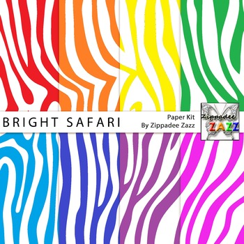 Bright Safari Zebra Stripes Digital Paper or Backgrounds