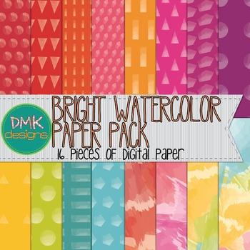 Digital Paper- Bright Watercolors