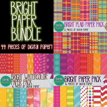 Digital Paper Bundle- Brights