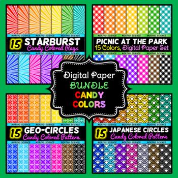 Digital Paper Bundle - Candy Color Patterns - 60 Digital Papers Included!