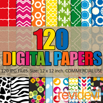 Digital Paper Bundle Commercial Use (120 papers) rainbow colors