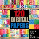 Digital Paper Bundle Commercial Use (120 papers) rainbow colors