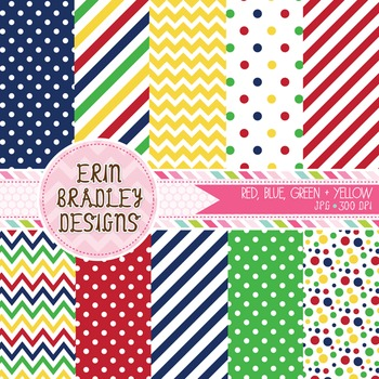Digital Paper Bundle - Red Green Blue Yellow Patterns