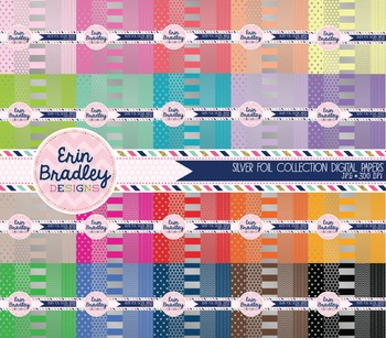 Digital Paper Bundle - Silver Foil Colorful Collection