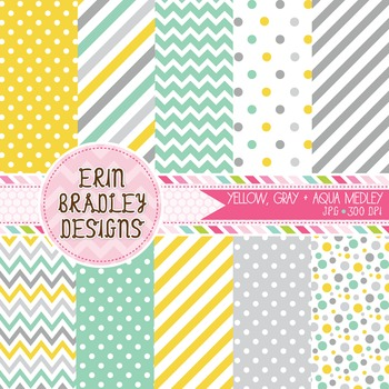 Digital Paper Bundle - Yellow Aqua Blue & Gray Patterns