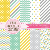 Digital Paper Bundle - Yellow Aqua Blue & Gray Patterns