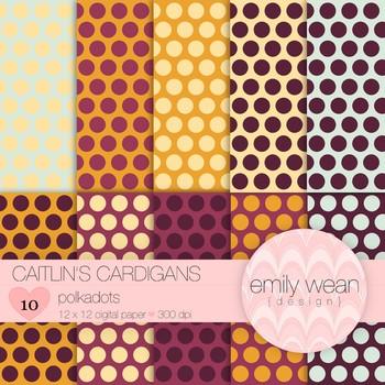 Caitlin's Cardigans - Digital Paper - Polkadots Background