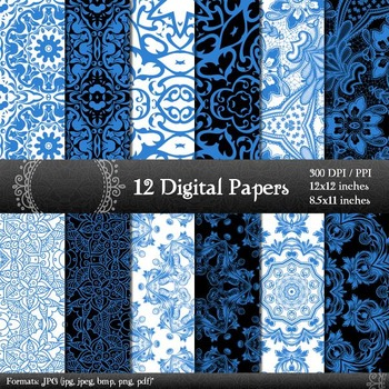 Digital Paper Card Scrapbooking Fabric Album Vintage Damascus Abstract Damask A4