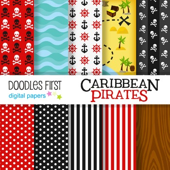 Digital Paper - Caribbean Pirates great for Classroom art projects