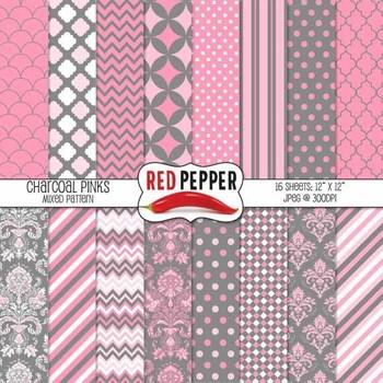Digital Paper / Patterns - Charcoal Pinks