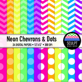 Digital Paper ~ Chevrons & Dots ~ Neon Colors