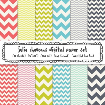 Digital Paper Chevrons, Pink, Blue, Lime Green, Bright Classroom Decor