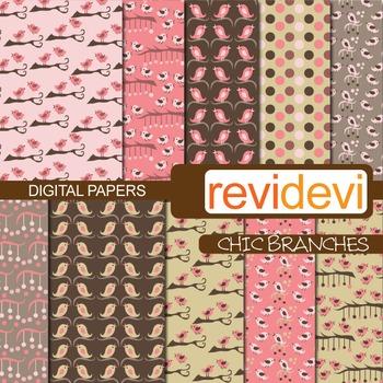Digital Paper Chic Branches (birds, pink, brown) background