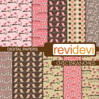 Digital Paper Chic Branches (birds, pink, brown) background