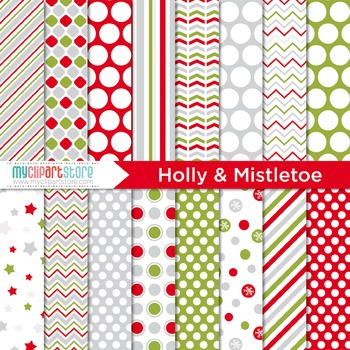 Digital Paper - Christmas / Holly & Mistletoe