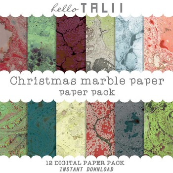 Digital Paper: Christmas Marble Paper