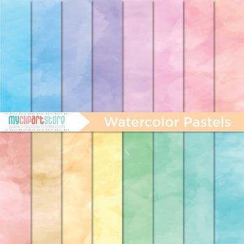 Digital Paper - Watercolor Pastels