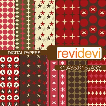 Digital Paper Classic Stars (patterned background for teachers) brown, marroon
