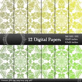 Digital Paper Clip Template Scrapbooking Premade Art Ornate Printable Decorative