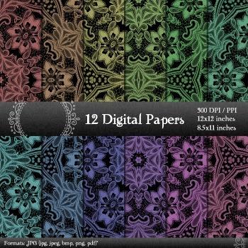 Digital Paper Clipart A4 Pack Album Scrap Book Flower Embe
