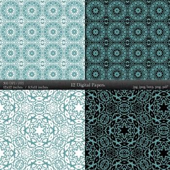 Digital Paper Clipart Pack  Decoration Scrapbook Embellishment Abstract Damascus
