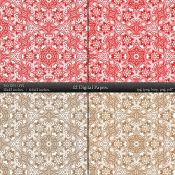 Digital Paper Collag Piecing Premade Embroidery Cover Ornate Instant Download A4