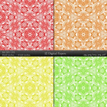 Digital Paper Collag Piecing Supplie Layout Scrap Booking Ornate Abstract Fabric