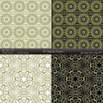 Digital Paper Collag Scrap Booking Art Graphics Digital Mandala Corner Kit Cover